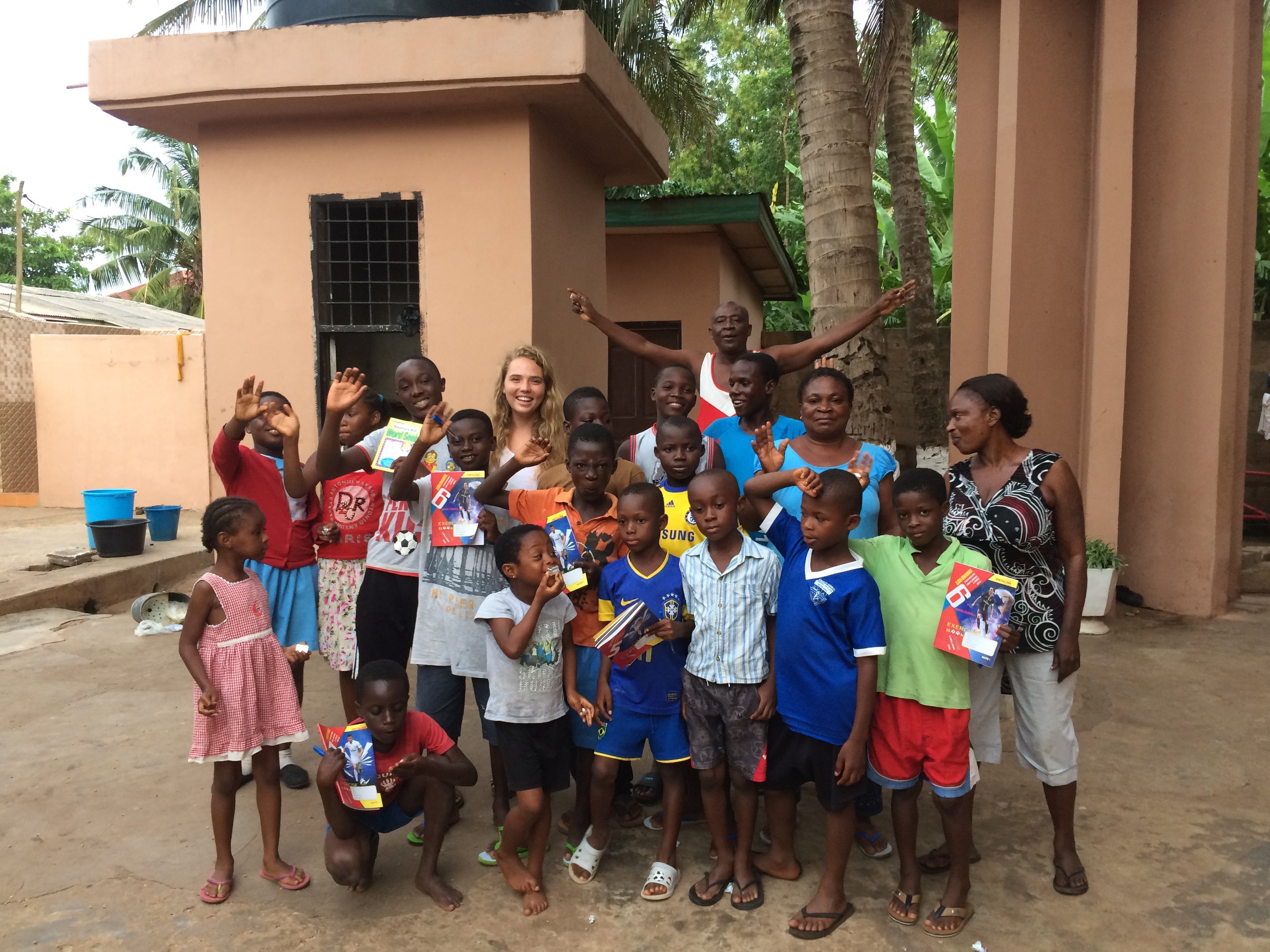 Emily Shearer with Ghanaian school children