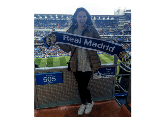 Selin holding a Real Madrid scarf