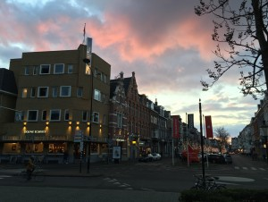Maastricht Street with pink sky