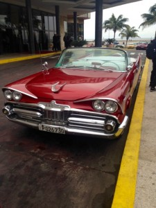 Old Red Convertible on the street in Havana