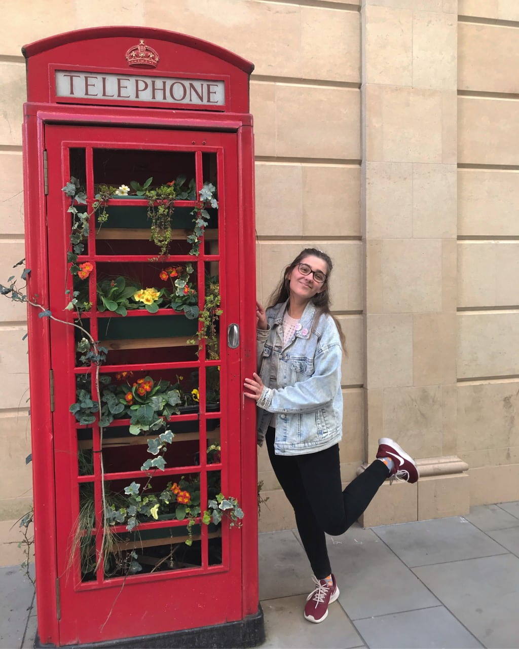 Kelsey with telephone booth