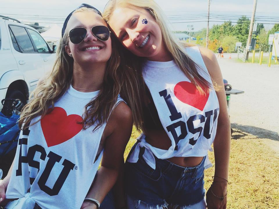 Reagan (left) and friend enjoying a PSU game day