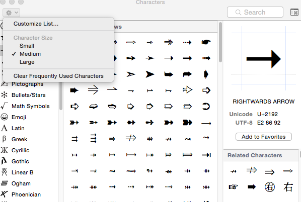 Symbol Codes Character Viewer In Macintosh