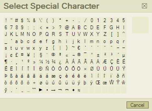 Special Character Palette with accented letters, currency signs, special punctuation