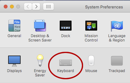 Systems Preferences with Keyboard icon circled