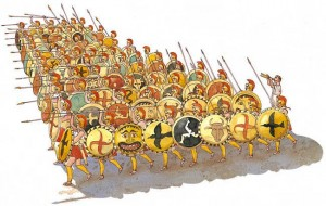 [9] What a typical hoplite phalanx looked like.