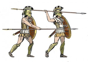 [6] hoplites holding spears in the overhand and thrust motion