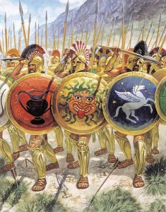 "[12]  Greeks in a ""close order"" phalanx"