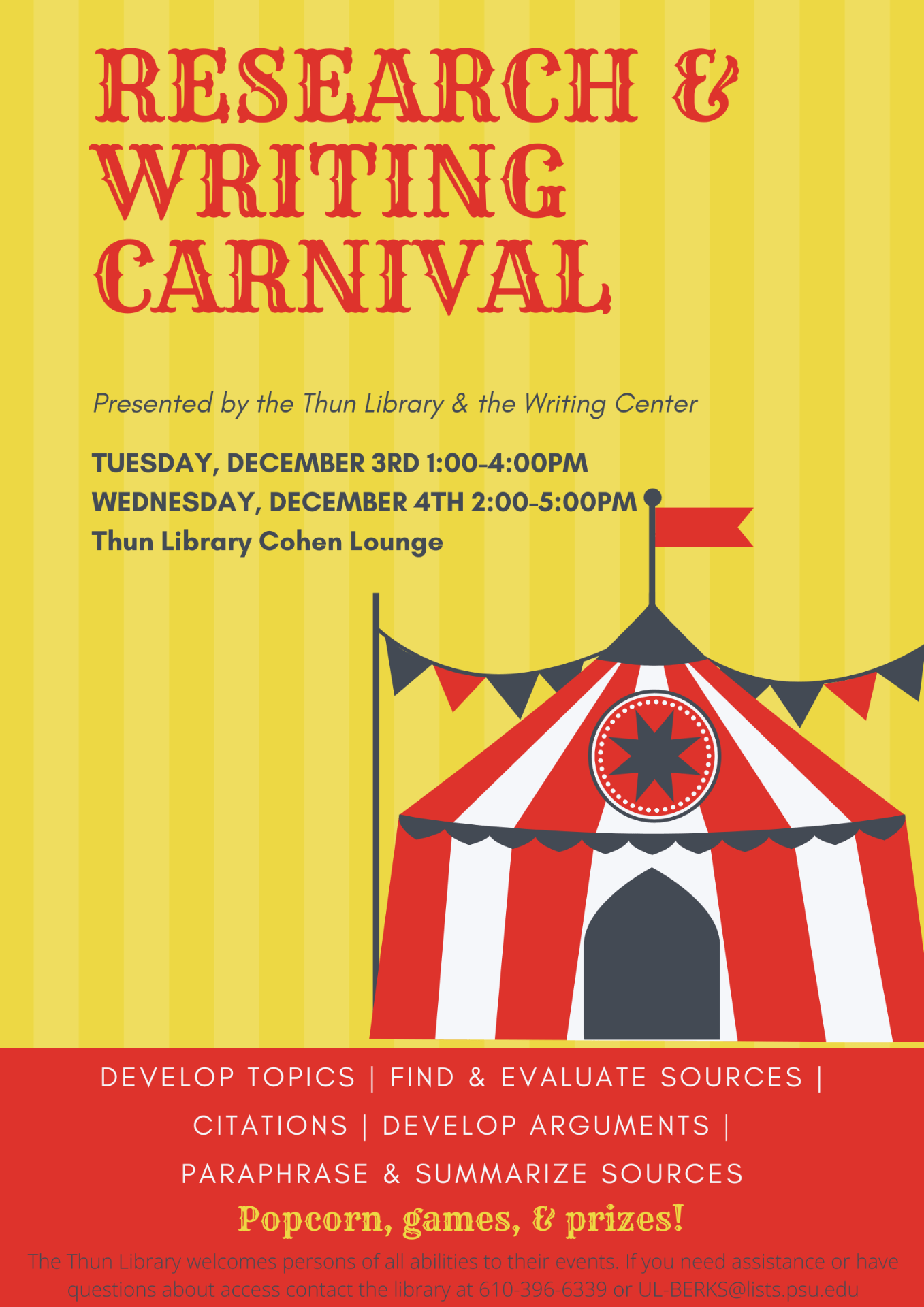 Research & Writing Carnival Fall 2019 flyer