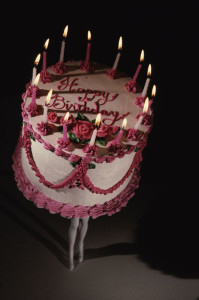 Laurie Simmons Walking Cake II (Color), 1989 cibachrome print, edition of 10 64 x 46 inches (162,6 x 116,8 cm) 69 3/8 x 51 3/8 inches (176,2 x 130,5 cm) frame SW 05119