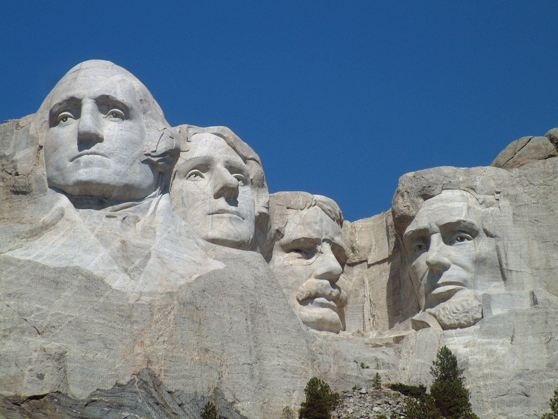 Mount Rushmore monument at South Dakota depicting founding fathers and Presidents of the United States (From Left- George Washington, Thomas Jefferson, Theodore Roosevelt and Abraham Lincoln)