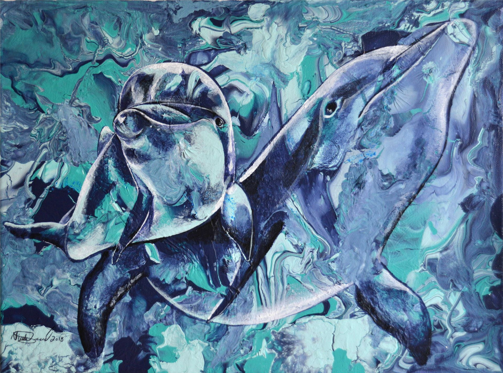 Painting created by Nicole Seacord, patient and titled Dolphins