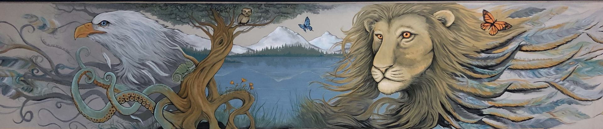 Mount Lassen (mural) created by Micah Spangler, brother of Mark Spangler, Department of Medicine