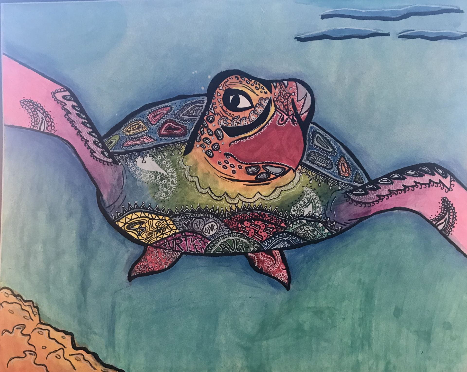 Painting of a sea turtle in blues pinks and greens. Created by Jessica Matincheck, Age 14 titled M ySpirit Animal