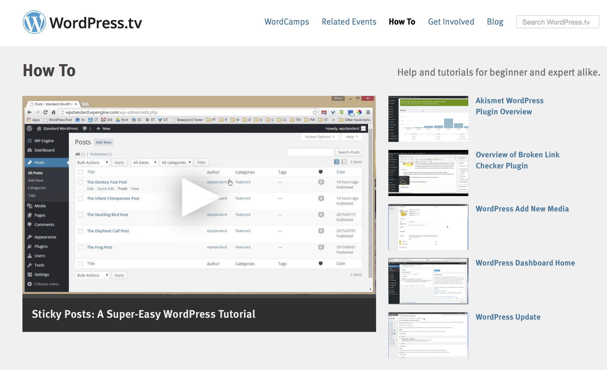 WordPress.tv How-to Videos