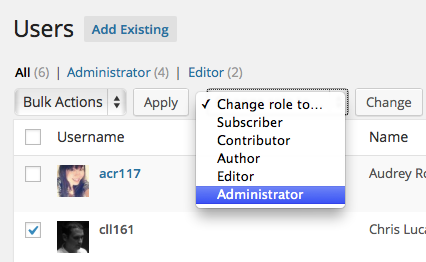 Changing User Roles
