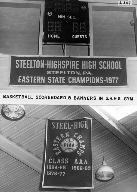 Basketball Scoreboard and Banners in Steel High Gym, 1978
