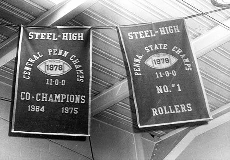 Football Banners in the Steel High Gym, 1978