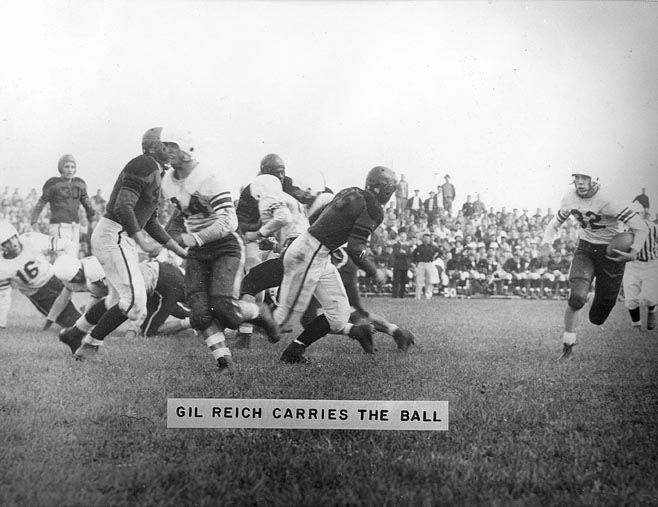 """Gil"" Reich Carries the Ball on Cottage Hill, 1948"