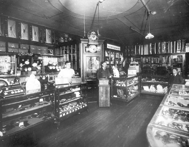 Interior of Joseph Jiras' Store with Record Booth, 1914