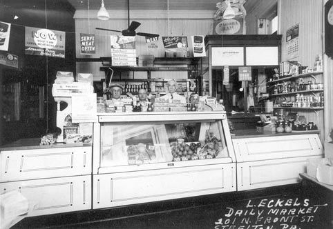 Lawrence Eckel's Meat Market at 201 N. Front Street, 1938