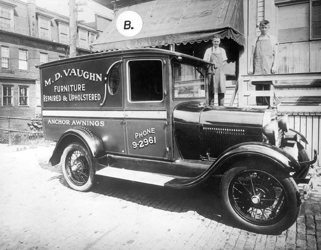 M.D.Vaughn's Upholstery Truck in front of Shop on Locust Street, 1900?1925