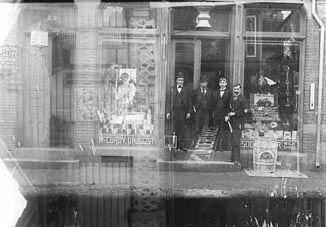 Men in Front of McCurdy's Drug Store, 20 S. Front Street, 1895c