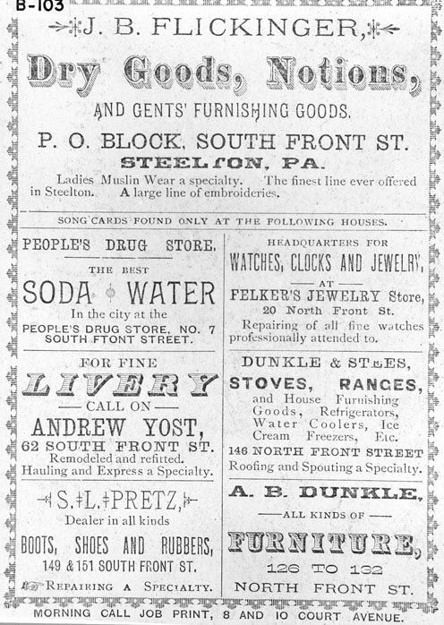 Page of Ads for Steelton Merchants 1880s