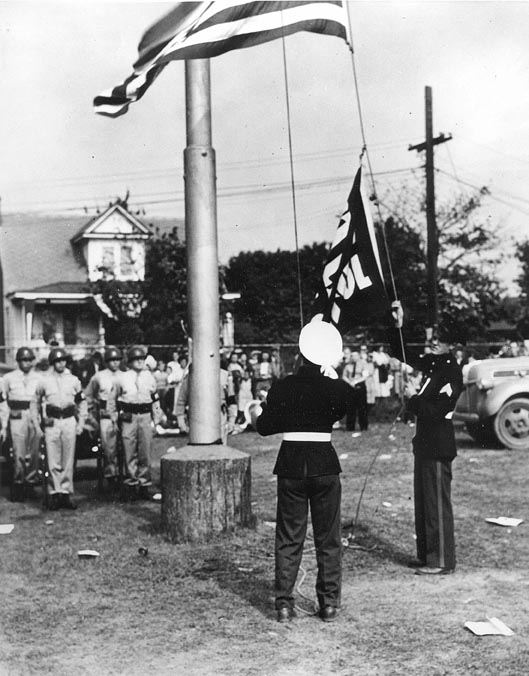 Raising the Flag on Cottage Hill, 1946