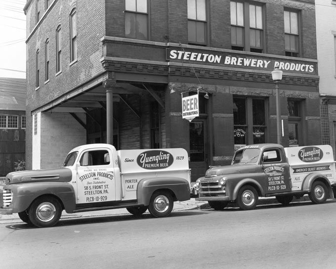 Two Yuengling Beer Trucks at Steelton Brewery, Front and Walnut Streets